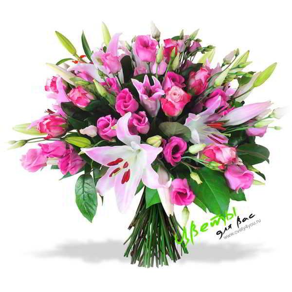 Состав: Эффектный букет в насыщенной розовой гамме из лилий